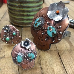 Limited Edition Sugar skull rings and cuff by Marisa Martinez 2015